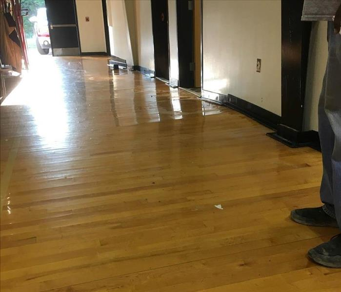 Floors buckling from water damage.