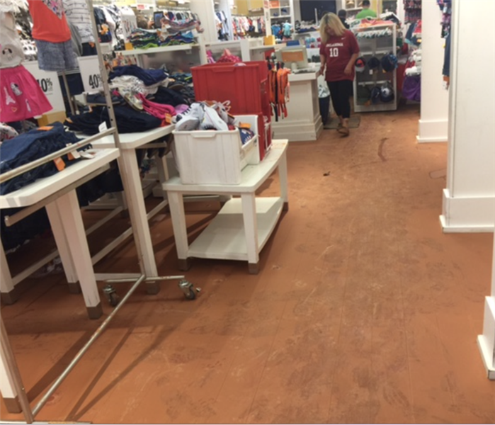 Water damage in a retail store.