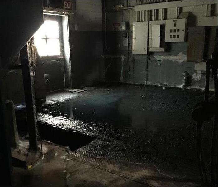 A basement building flooded